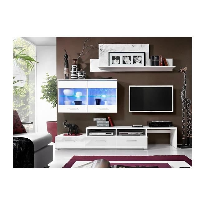 Object moved - Meuble tv blanc laque avec led ...