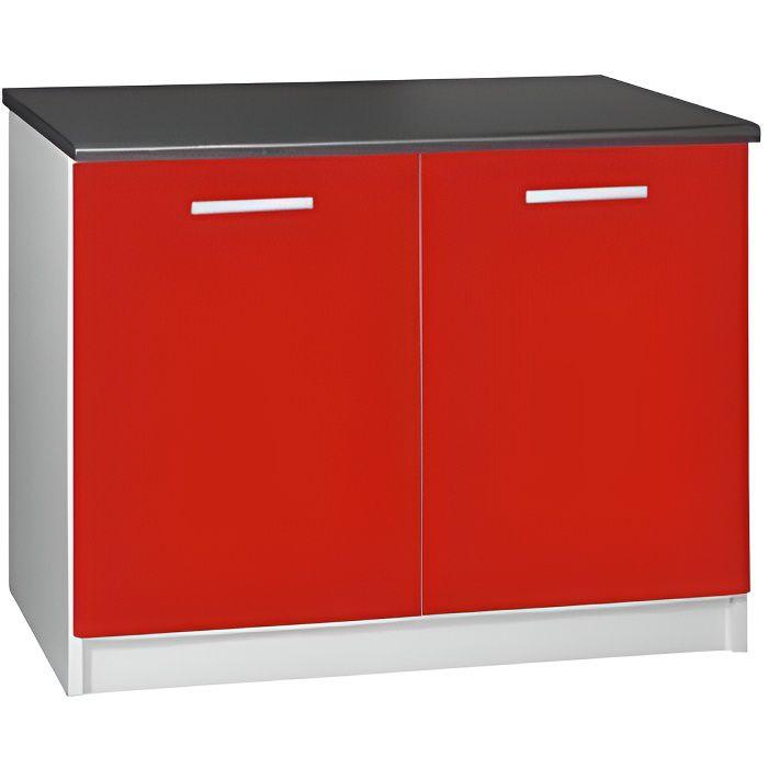 ELEMENTS BAS Meuble cuisine bas 120 cm 2 portes TARA rouge