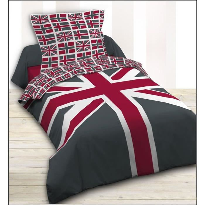 housse de couette 140 x 200 cm taie union jack drapeau anglais gris et rouge parure. Black Bedroom Furniture Sets. Home Design Ideas