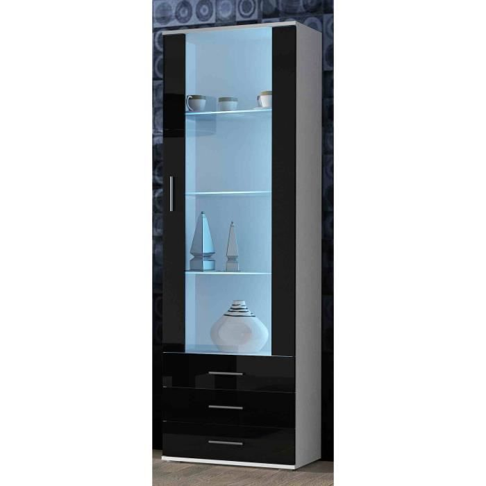 meuble vitrine design sano blanc noir achat vente vitrine argentier meuble vitrine design. Black Bedroom Furniture Sets. Home Design Ideas