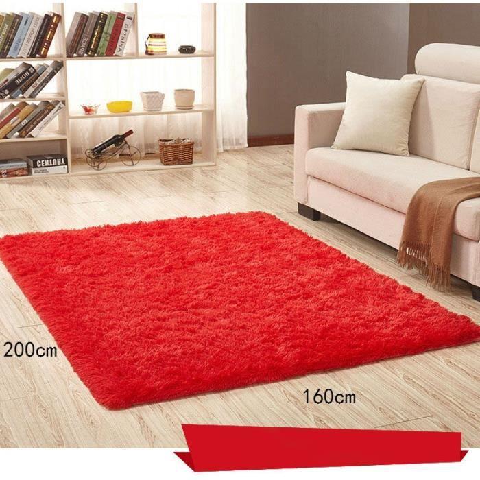 Rouge 160*200cm Tapis chambre enfant Tapis Salon du sol maison décoration  confortable shaggy Moquette Velours Yoga Anti-dérapage