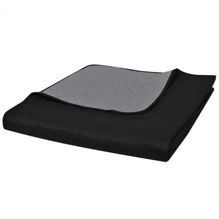 JETÉE DE LIT - BOUTIS Couvre-lits à double côtés Noir-Gris 230 x 260 cm