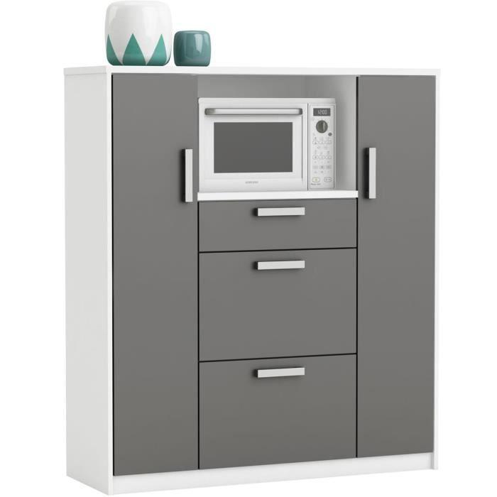 Meuble de rangement cuisine coloris Blanc mat-gris foncé - 116,2 x 132,2 x  40 cm