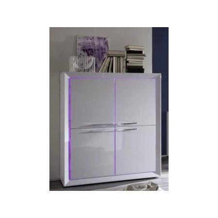 haut buffet design blanc laqu led 4 portes l achat. Black Bedroom Furniture Sets. Home Design Ideas