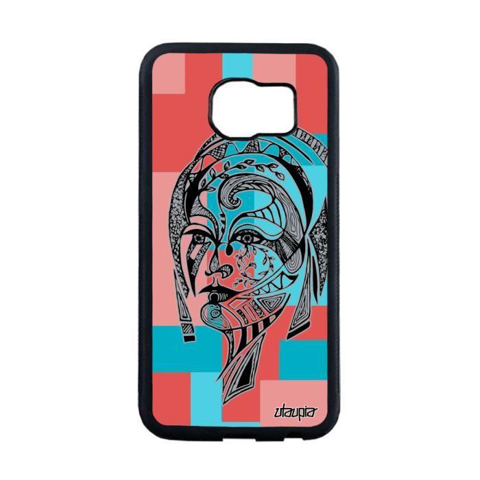 Coque silicone Galaxy S6 Edge femme tribal dessin carré fille ethnique a Samsung Galaxy S6 Edge