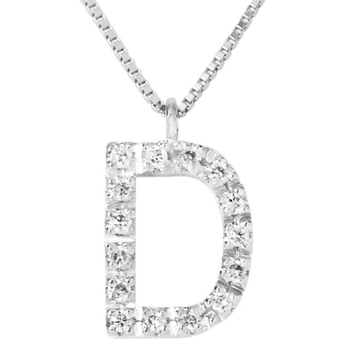 DIAMOND LANE Collier Lettre D Or Blanc 750° et Diamants Femme