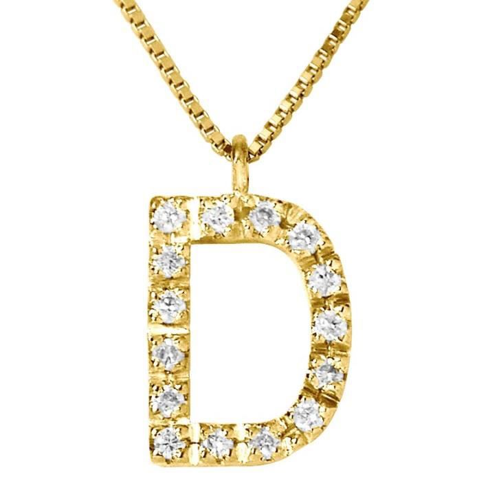 DIAMOND LANE Collier Lettre D Or Jaune 750° et Diamants Femme