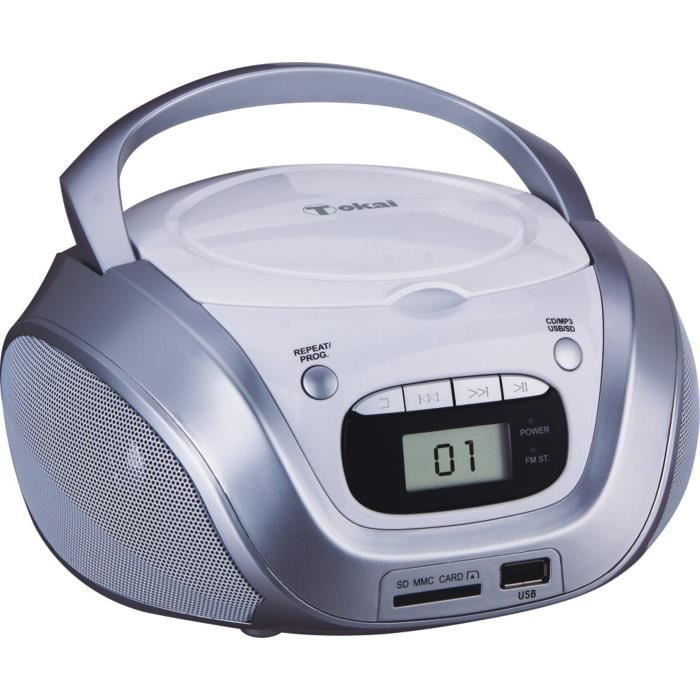 TOKAI TB208W Radio CD MP3/USB Blanc et Argent