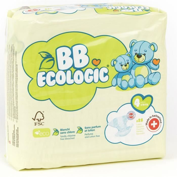 COUCHE BEBE ECOLOGIC - Couches taille 4 - 28 couches