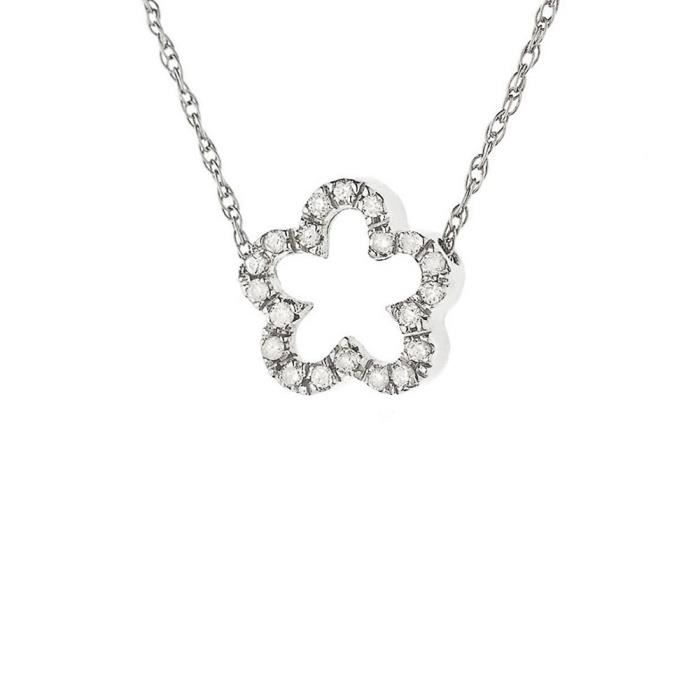 collier or blanc 750 femme