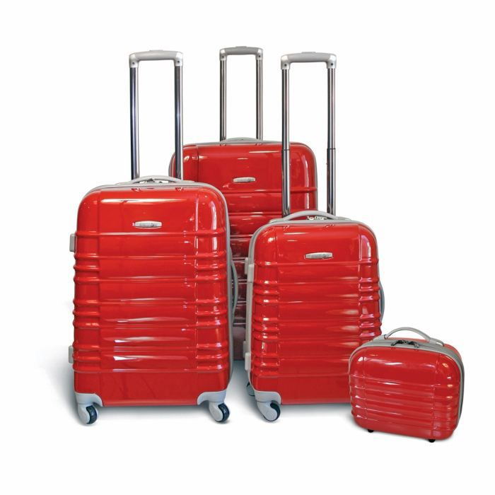 325426d64836b8 KINSTON Set de 3 Valises Trolley 4 roues 54 64 74 cm + Vanity Rouge ...