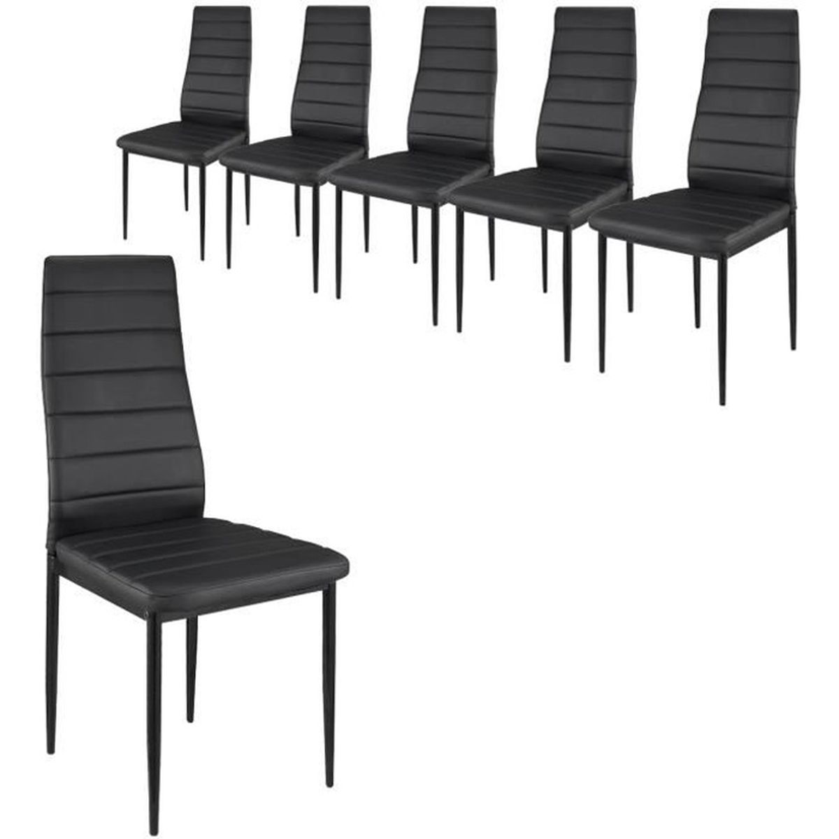 lot 6 chaises cuir noir achat vente lot 6 chaises cuir noir pas cher cdiscount. Black Bedroom Furniture Sets. Home Design Ideas