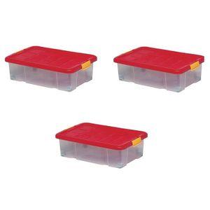 BAC DE RANGEMENT OUTILS Lot de 3 boîtes de rangement plastique, transparen