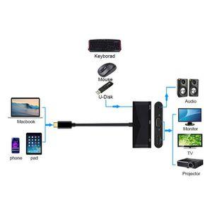 ADAPTATEUR AUDIO-VIDÉO  Type-C Adaptateur audio 3,5 mm VGA HDMI 3 en 1 USB