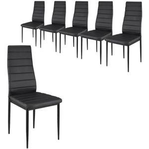 CHAISE Lot de 6 chaises en simili cuir NOIR