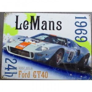 OBJET DÉCORATION MURALE plaque 24h le mans 1969 ford GT40 tole deco pub ga