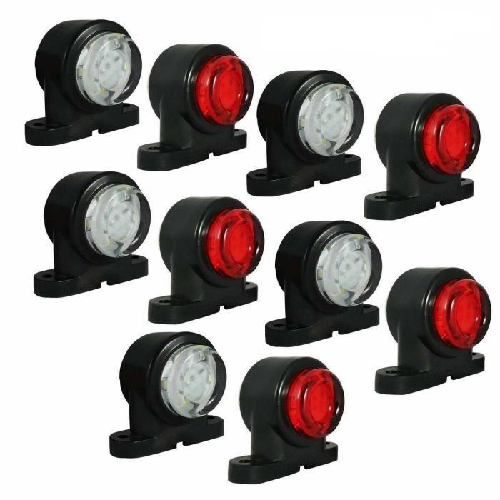 10x Feux de Position Blanc Rouge LED 12V/24V Caoutchouc Camion Fourgon Remorque
