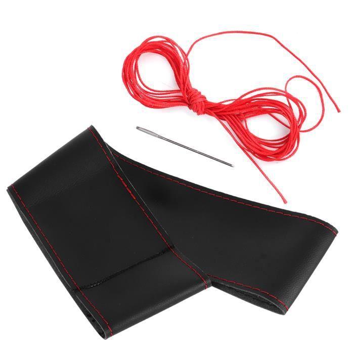 CEN Housse De Volant En Cuir Microfibre Accessoire Intérieur De Voiture De Couture Bricolage Universel 38Cm-15Po(Noir Rouge )