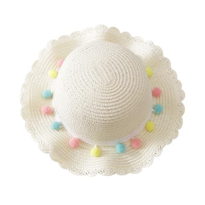 Soins bébéBébé d'été bébé enfants filles respirant soleil gland boules chapeau de paille chapeau de plage WXL90603084WH_sim