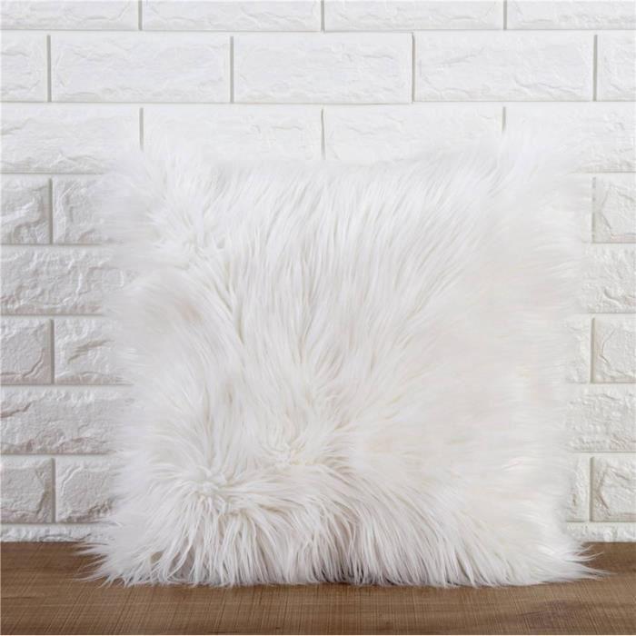 Housse de Coussin Fausse Fourrure Blanc, Maison Décorative,Douce en Peluche,45 * 45cm