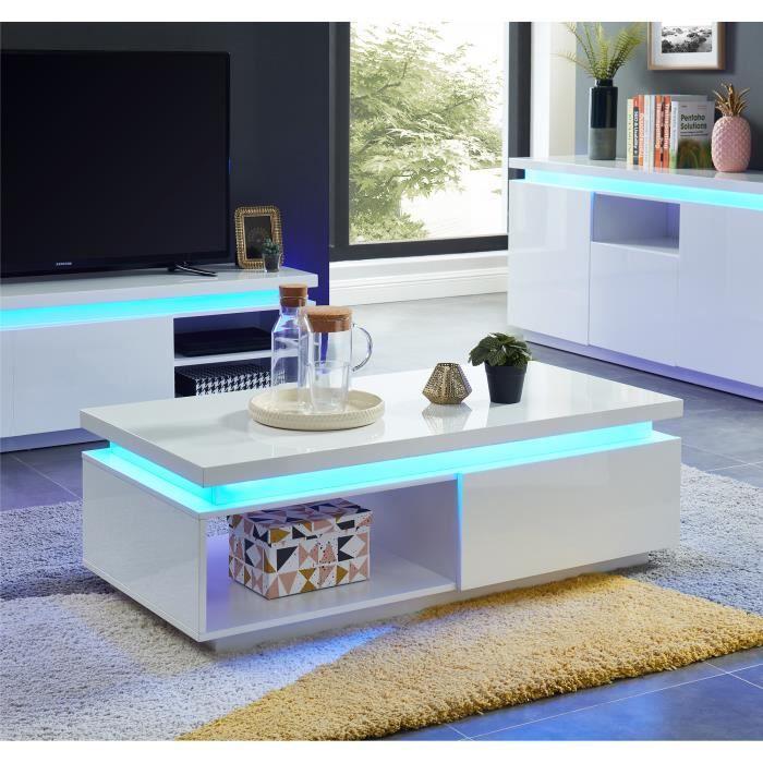 COSMOS Table basse à LED contemporaine - laqué blanc brillant - L120cm