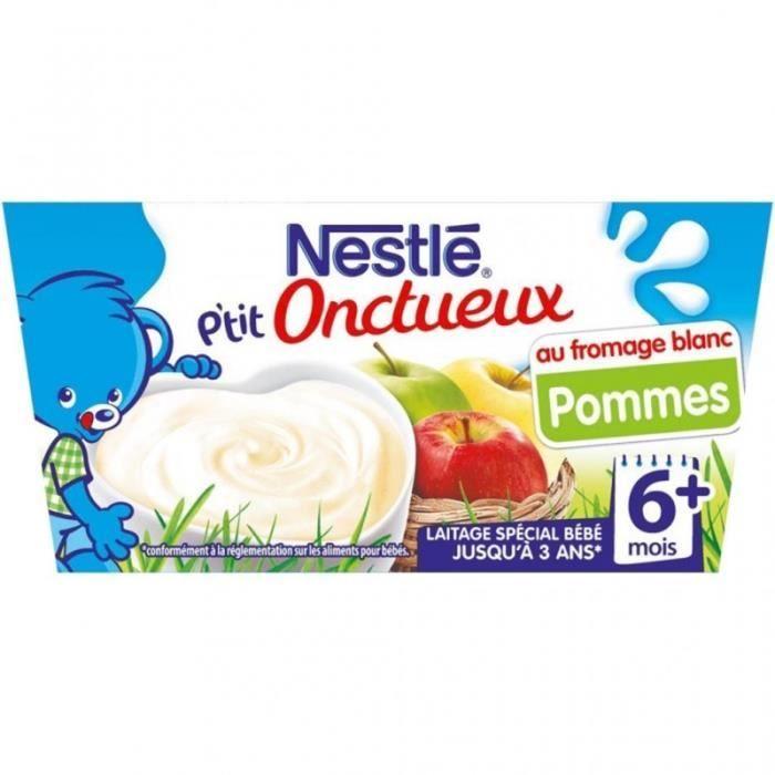 Nestlé P'tit Onctueux au Fromage Blanc Pommes (+6 mois) par 4 pots de 100g (lot de 8 soit 32 pots)