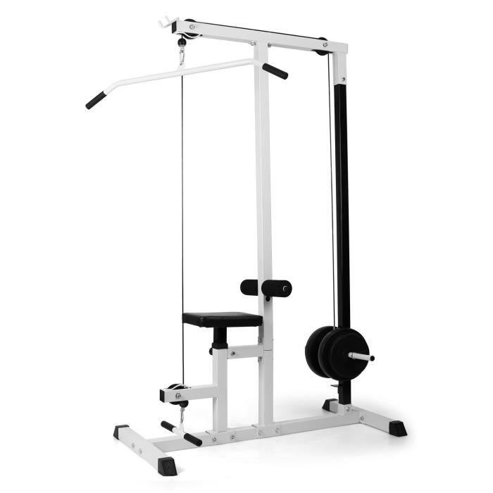 Klarfit FIT-LM01 Station de musculation rameur traction fitness latissimus - Siège réglable en hauteur - Support d'haltère - Blanc