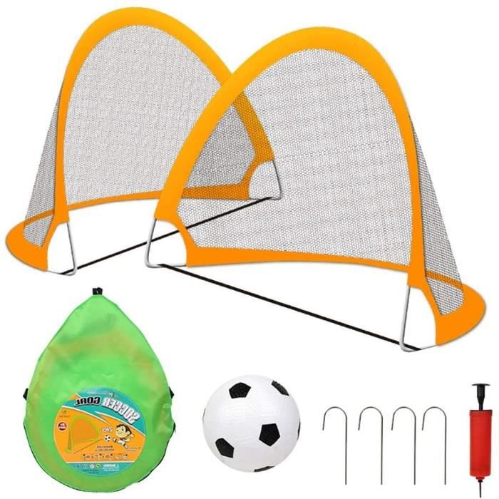 ZJM Cage de Football But de Soccer Pop-up pour Les 5-12 Ans, Filets Gardien de But Premium pour Enfants, avec-Net + Ball + Pump, 470