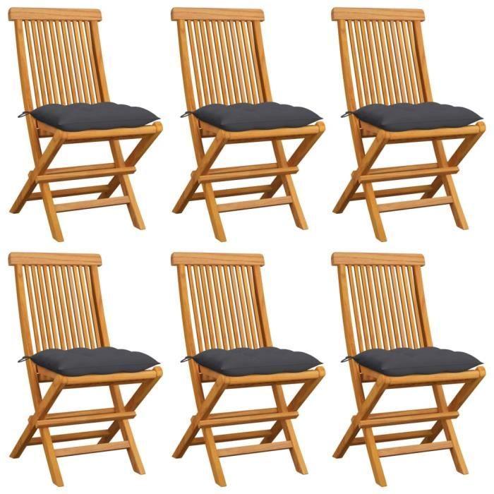 Lot de 6 Chaises de jardin Chaise d'extérieur Contemporain - Fauteuil de Jardin avec coussins anthracite Bois de teck #4767
