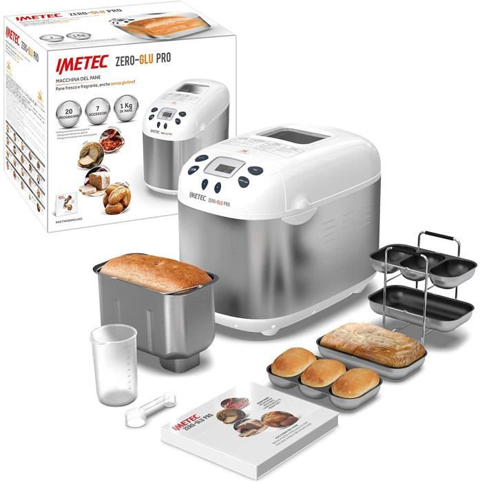 Imetec Zero-Glu PRO Machine à pain et à gâteaux, avec 20 programmes automatiques / 11 sans gluten, 7 accessoires, 3 formes différent