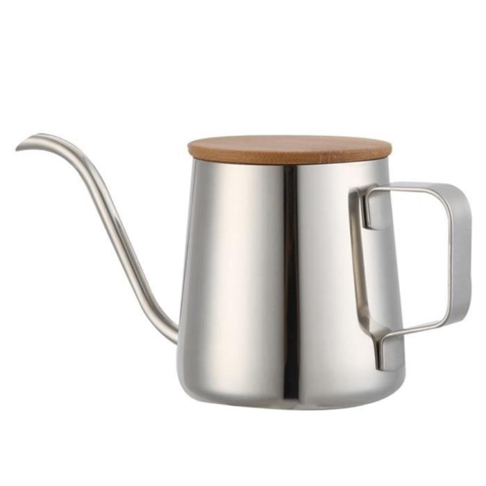Cafetière,350Ml col de cygne bouilloire bouilloire électrique température réglable isolation en acier inoxydable - Type Silver