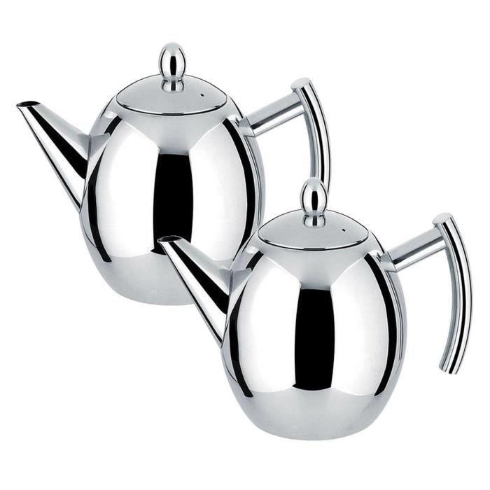 HURRISE récipient Bouilloire à eau de pot de café de théière d'acier inoxydable avec la grande capacité de filtre (1L)