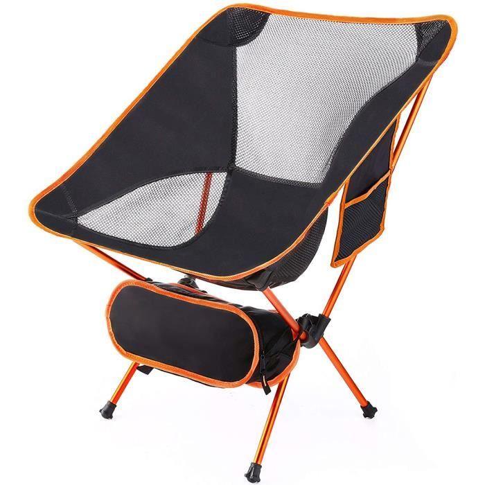 YIS Chaise de Camping Pliable Léger, Extérieur Fauteuil pour Pêche avec Portable Sac de Transport - Charge 120 kg Orange