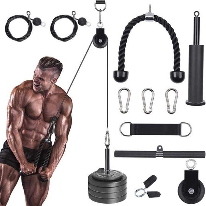 Poulie de fitness en fer 2 en 1,Poulie de musculation,Corde d'entraînement des triceps