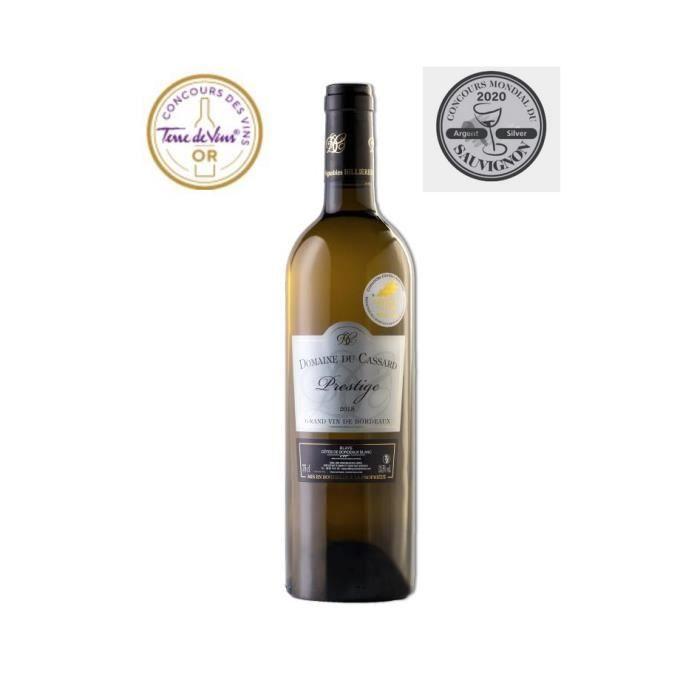 Domaine du Cassard Prestige - Blaye Côtes de Bordeaux Blanc- Médailles concours : Terre de Vins « Or » - Sauvignon 2020 « Argent »