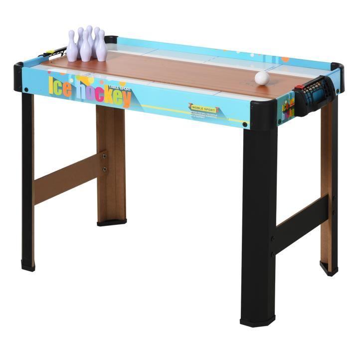 Table multi-jeux 4 en 1 air track curling bowling ping-pong MDF noir bleu 82x40x58cm Noir