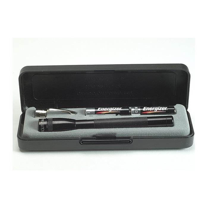 Mini Maglite 2 x torche AAA - clip, piles et boîte - lampe de poche Mag officiel