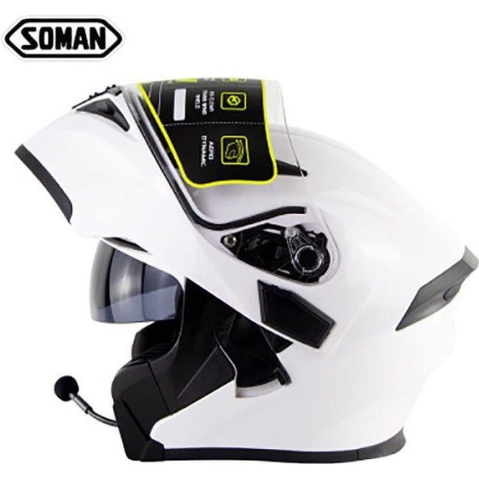 Casque modulable soman955 de moto double lentilles casque Bluetooth de sécurité hommes et femmes DOT certifié