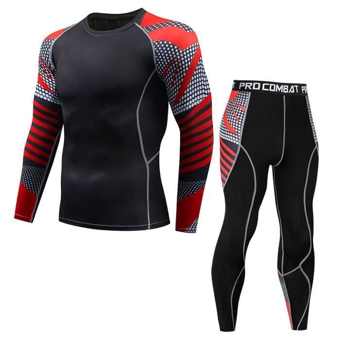 Ensemble de vêtements de sport homme 2 pièces Maillot manches longues&Collant Fitness Respirant Jogging Séchage Rapide Élastique