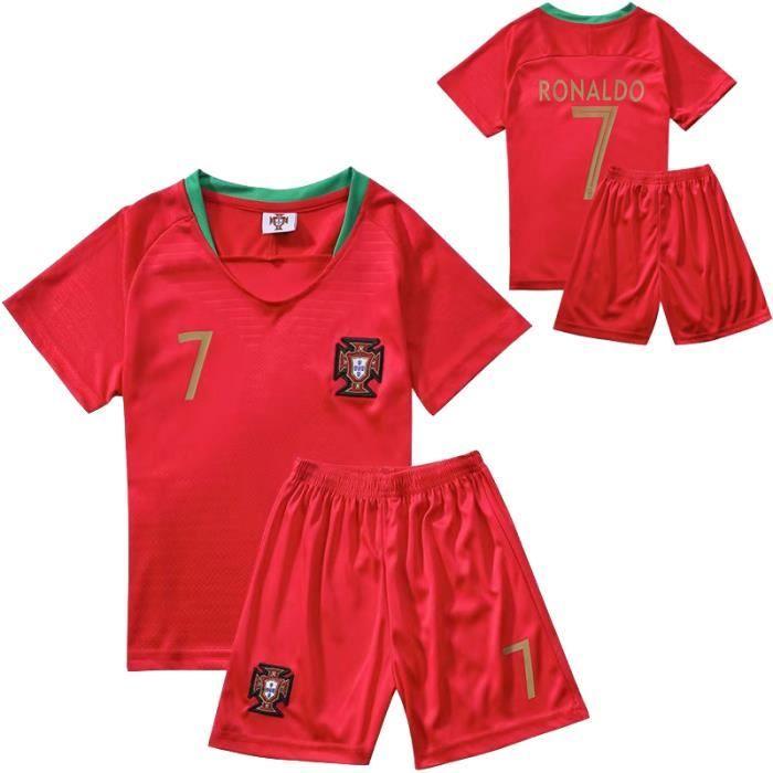 Maillot de Foot Short Football Soccer Maillot Equipe de Portugal NO.7 Cristiano Ronaldo 2018 2019 Pas Cher pour Enfant Garçon
