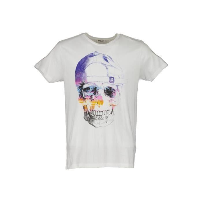 DEELUXE T-shirt dessin tête de mort DEDDY Optic White