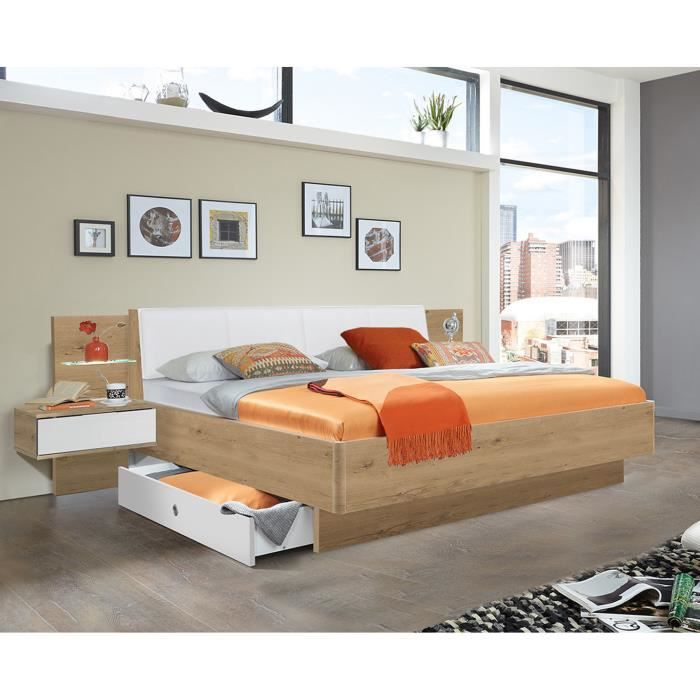 Lit futon + 2 chevets en panneaux de particules imitation chêne poutre-blanc - Dim : 180x200 cm