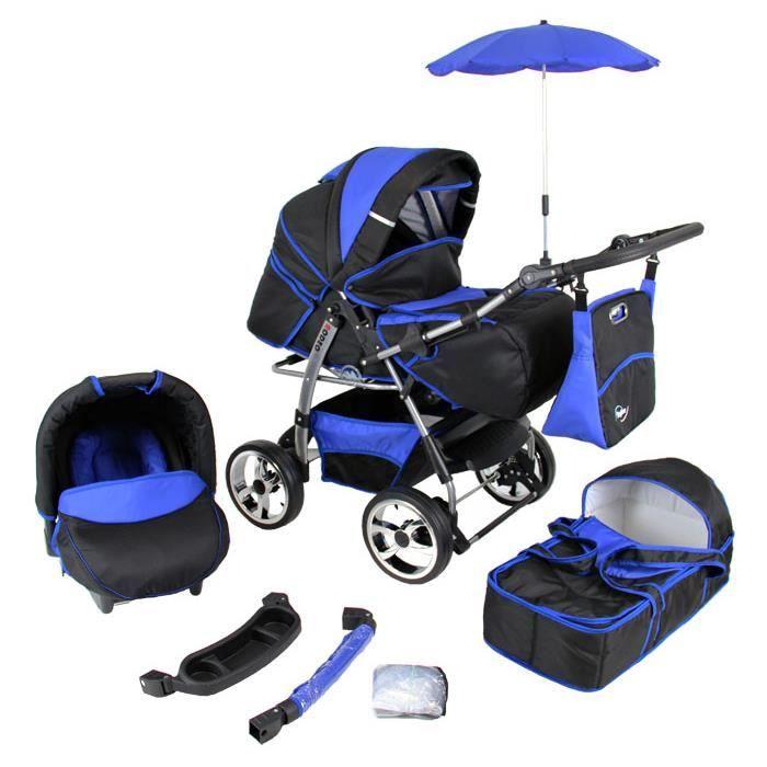 Poussette/Landau combiné 3en1 multifonctions avec siège-auto & équipement + roues gonflables bébé enfant Rodeo - Noire et Bleue.