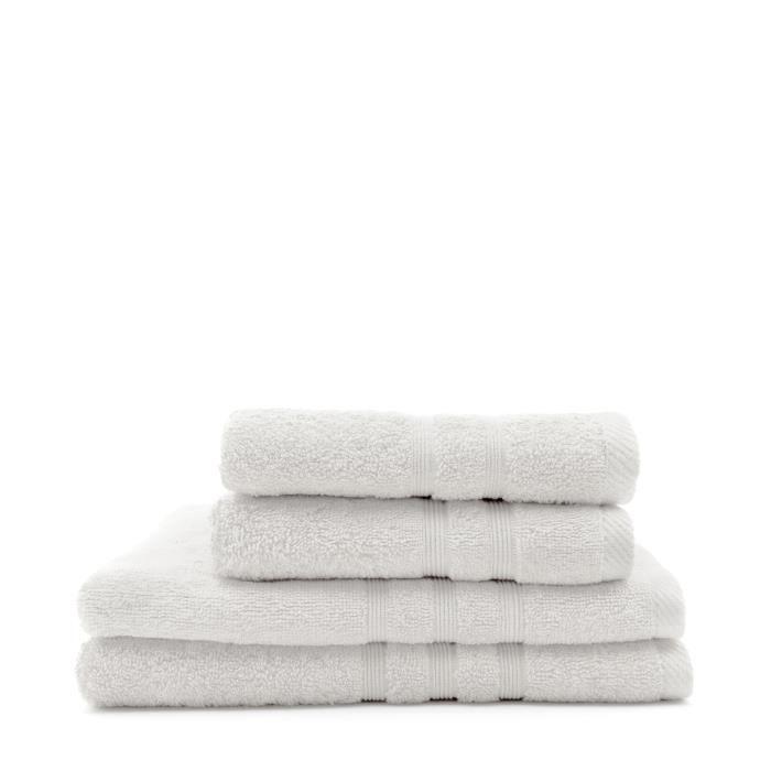TODAY Lot de 2 Serviettes 50 x 100 cm + 2 Draps de bain 70 x 130 cm - 100% Coton - Chantilly