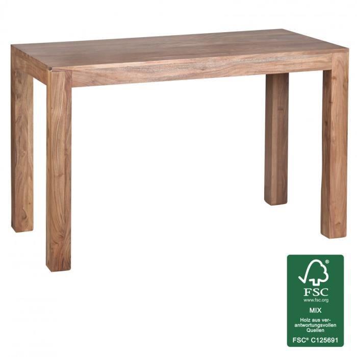 WOHNLING table à manger en bois massif acacia 120cm table à manger table en bois design Cuisine style campagnard de table brun foncé