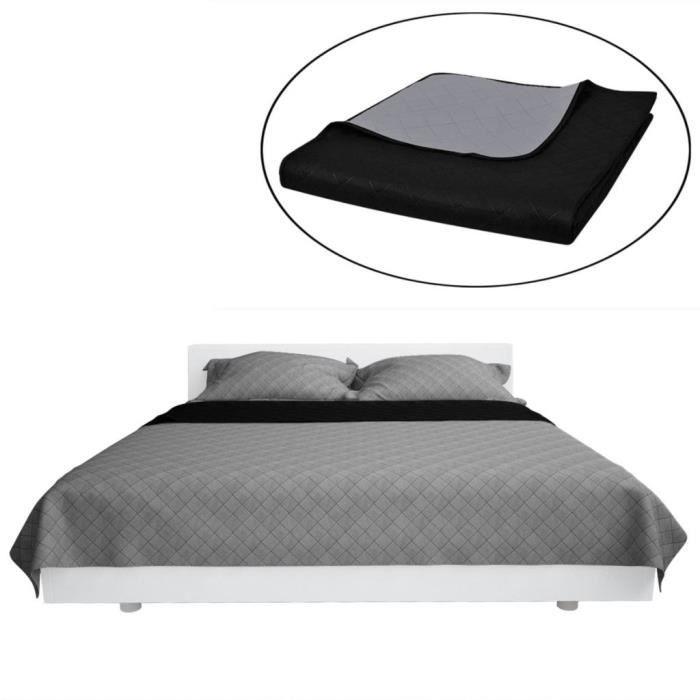 JETÉE DE LIT - BOUTIS Couvre-lits à double côtés Noir-Gris 220 x 240 cm