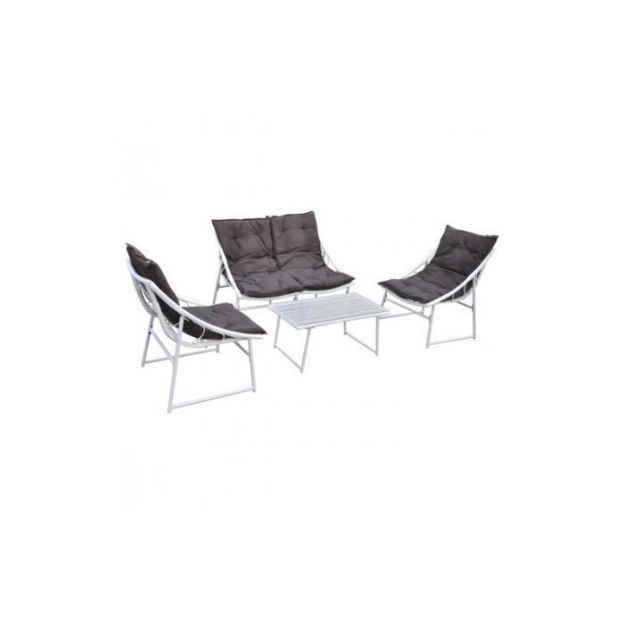 Ensemble chaise et table en rotin blanc pour ext rieur set for Table et chaise en rotin pour veranda