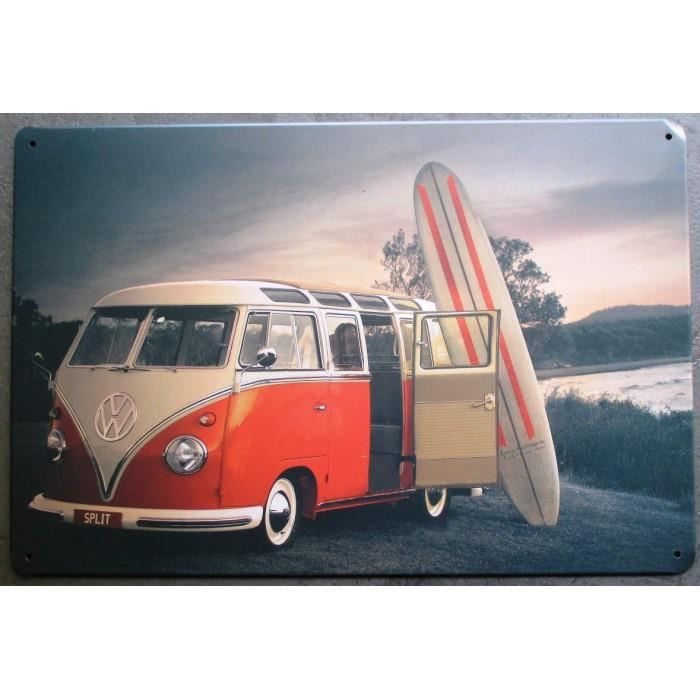 plaque vw combi split rouge blanc planche surf affiche tole achat vente objet d coration. Black Bedroom Furniture Sets. Home Design Ideas