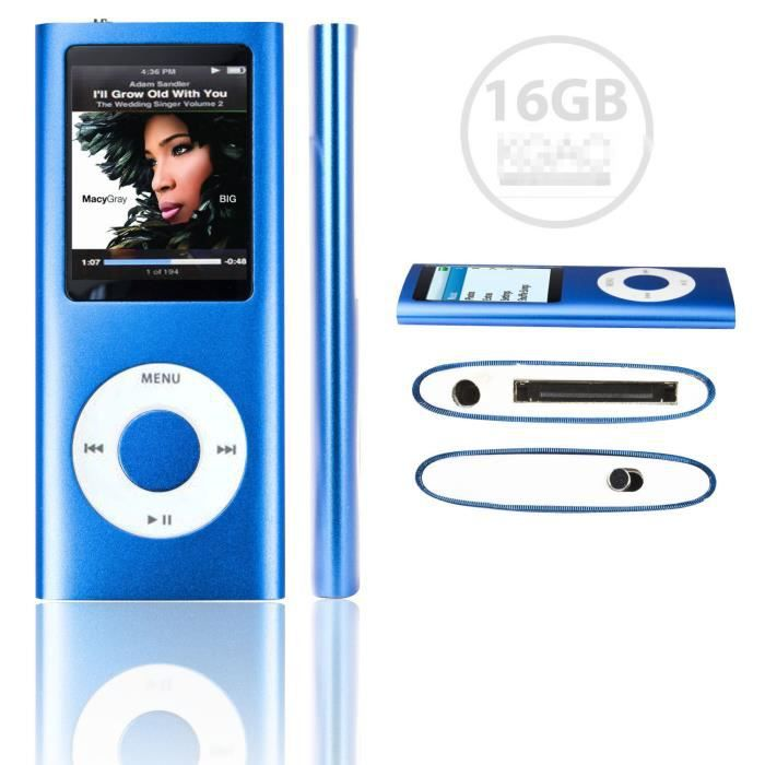 folvo 16gb lecteur mp3 mp4 style ipod 16go vid o musique radio jeux bleu lecteur mp4. Black Bedroom Furniture Sets. Home Design Ideas