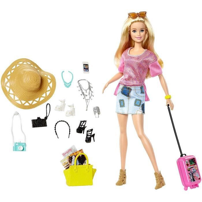 Poup 233 E Barbie Pink Passeport Ken Mode Part En Vacances